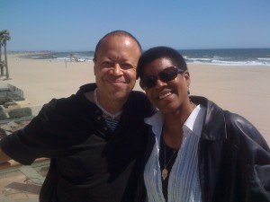 Steven Barnes and wife Tananarive Due on beach.
